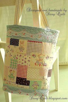 Elegant tote bag 2. | Flickr by STORY QUILT, via Flickr