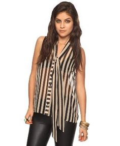 Striped Self-Tie Button Up | FOREVER21 - 2000037284