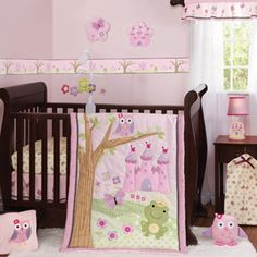 Storybook castle, frog, owl and butterfly baby girl crib bedding. Adorable pink and purple nursery set. Magic Kingdom baby crib bedding by Bedtime Originals. Disney Crib Bedding, Baby Girl Crib Bedding, Girl Cribs, Baby Cribs, Cot Bedding, Frog Nursery, Baby Nursery Bedding, Fairy Nursery, Fairy Room
