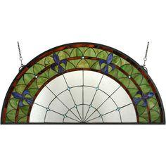 35.5 Inch W X 18 Inch H Fleur-de-lis Stained Glass Window - Custom Made