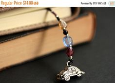 New to Gilliauna on Etsy: VALENTINE SALE Classic Car Bookmark. Beaded Bookmark in Blue Purple and Peach. Handmade Bookmark. Car Lover Bookmark. Car Book Charm. (12.60 USD)