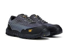 Speed up your workday with the Expedient Composite Toe Work Sneaker from Caterpillar. Nylon mesh and synthetic upper in a work sneaker style with a round toe Nano composite safety toe Lace up front Padded collar EH (Electrical Hazard) rated Nylon mesh lining, microfiber insole Strobel and cement construction Molded EVA midsole High abrasion rubber outsole SRX Extreme Slip and Oil Resistance Available in Medium and Wide widths