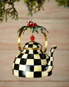 Courtly Check Tea Kettle Christmas Ornament