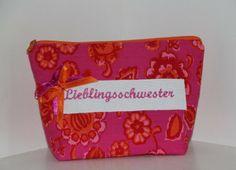 """Kosmetiktäschchen """"Lieblingsschwester"""" pink  von byGretchen auf DaWanda.com"""