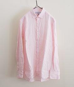 James Mortimer ロングスリーブレギュラーカラーアイリッシュリネンシャツ(BABY PINK) http://floraison.shop-pro.jp/?pid=74998062