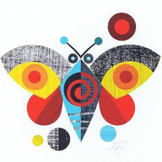 print & pattern: NEW WORK - ellen giggenbach Fabric Painting, Painting & Drawing, Graphic Design Illustration, Illustration Art, Butterfly Drawing, Retro Art, Geometric Art, Flat Design, Bird Art