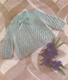 PDF Knitting Pattern for a Patterned Baby Matinee Coat (Z228)