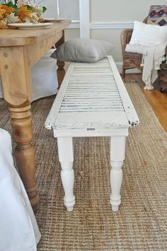 We end up having two to three shutters rotting in the backyard or lying uselessly in the attic; if you to use them for something really good, get ideas from this lovely woman. She has incredible ideas to transform the old shutters. Old Window Shutters, Rustic Shutters, Diy Shutters, Repurposed Shutters, Farmhouse Shutters, Cottage Shutters, Bedroom Shutters, Repurposed Furniture, Diy Furniture