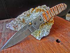 Damascus Folder, Fossil Mammoth Tooth Custom Handmade Pocket Knife, Custom File Work on Blade and Spine.