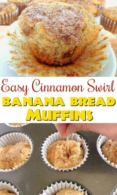 Easy Cinnamon Swirl Banana Bread Muffins – The Mommy Mouse Clubhouse This is the best banana muffin recipe! Easy Cinnamon Swirl Banana Bread Muffins are moist and packed with bananas and cinnamon. The perfect banana muffin recipe! Best Banana Muffin Recipe, Simple Muffin Recipe, Banana Bread Muffins, Banana Bread Recipes, Cinnamon Muffins, Recipes With Bananas, Desserts With Bananas, Baking With Bananas, Banana Breakfast Recipes