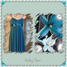🌺Ruby Rox Dress🌺 Aquamarine color, medium, adjustable straps, pleated front with bow Ruby Rox Dresses