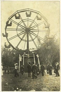 Ferris wheel at the Ekka, Brisbane, ca. 1918 by State Library of Queensland, Australia. Vintage Pictures, Old Pictures, Vintage Images, Old Photos, Carrousel, Carnival Rides, Vintage Circus, Local History, Thats The Way