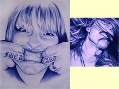 dos de chicas de cerca Ballpoint Pen Art, Cool Artwork, Girls, Art, Cool Art