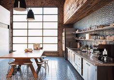 Credit: Matthew Williams At this home in Los Angeles, patterned encaustic cement tiles on the floor and walls create an immersive effect (tr...
