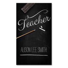 Teacher chalkboard business cards. This is a fully customizable business card and available on several paper types for your needs. You can upload your own image or use the image as is. Just click this template to get started!