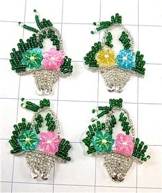 """Flowers in Basket Set of Four 2"""" x 1.5"""""""