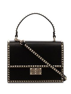 6faf64dfc4bb Shop Valentino black Rockstud No Limit Leather Bag