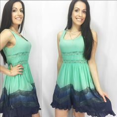 """Mint & Navy Flowy Lace Accent Dress I am in love with this!  It is now sold out everywhere so I cannot restock so get them while you can! This gorgeous flowy lace accent mint and navy dress is just perfection. Had a double Lined lower so it is not see through on the bottom. Top has lace accent under bust that is see through. So comfortable and makes you feel so elegant. Made of 100% rayon. Fits TTS Have S(2-4) M(6-8) L(10-12) price is firm unless bundled. Apprx 33"""" - PREVIOUS CUSTOMER…"""