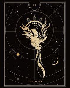 "The Phoenix. 01 from my Oracle Deck ""Luna Aurea"" . The mystical creature has been linked with eternal life, destruction, creation and fresh… Phoenix Drawing, Animal Tattoos For Women, Eternity Symbol, Small Phoenix Tattoos, Tarot Tattoo, Tarot Astrology, Animal Symbolism, Moon Goddess, Mandala Tattoo"