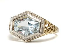 1930s Bling in an Aquamarine Filigree Ring - The Three Graces