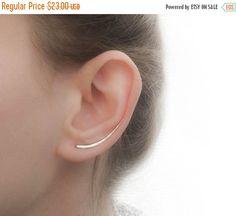 New Year Sale - Ear Climber Earrings - Long Ear Climber - Silver Ear Climber - Ear Crawler - Bar Earrings - Silver Bar Earrings Bar Earrings, Silver Earrings, Ear Climber, Jewelry Gifts, Fine Jewelry, Jewellery, Silver Bars, Ear Piercings, Bling
