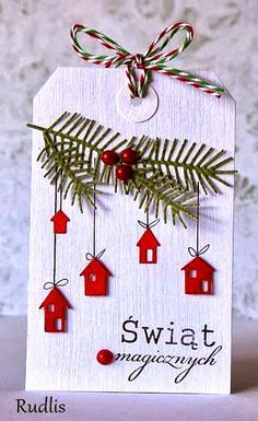 #Christmas #giftwrapping ideas ToniK ⓦⓡⓐⓟ ⓘⓣ ⓤⓟ #DIY #crafts Red white #gifttag papierowaobsesja.blogspot.com