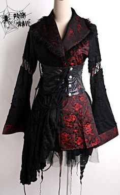 A Gothic style kimono, with a mesh underskirt and girdle.