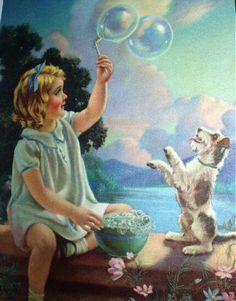 Playmates by Mabel Rollins Harris Vintage Children's Books, Vintage Art, Best Friend Images, Romantic Themes, Rolf Armstrong, Bubble Art, Blowing Bubbles, Soap Bubbles, Country Art