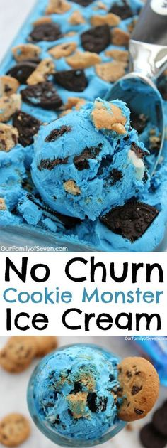 No Churn Cookie Monster Ice Cream with Oreo and chocolate chip cookies
