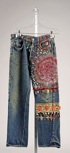 Jeans Date: late 1960s–early 1970s I had a pair very similar to these, tricked out with ribbons, beads and embroidery only on one leg. Groovy.
