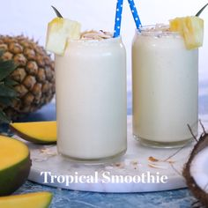 A refreshing Tropical Smoothie that tastes like vacation in a glass. A refreshing Tropical Smoothie that tastes like vacation in a glass. Smoothie Drinks, Fruit Smoothies, Healthy Smoothies, Smoothies Coffee, Tropical Smoothie Recipes, Breakfast Smoothies, Yummy Drinks, Yummy Food, Healthy Food