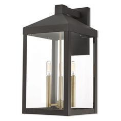 Livex Lighting 20584 Nyack 3 Light Tall Outdoor Wall Sconce with Glass P Bronze Outdoor Lighting Wall Sconces Black Outdoor Wall Lights, Outdoor Barn Lighting, Livex Lighting, Outdoor Wall Lantern, Outdoor Wall Sconce, Outdoor Walls, Lighting Ideas, Exterior Lighting, Outdoor Beds