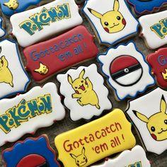 Pokemon Party, Pokemon Birthday, 7th Birthday, Birthday Parties, Sugar Cookie Royal Icing, Sugar Cookies, Diy Cookie Cutter, Cute Cookies, Birthday Cookies