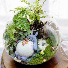 Une lot de 4 Totoro Terrarium matériel accessoires Ghibli Studio fée jardin Miniature fille couché dans Totoro accessoires BRICOLAGE 4pcs