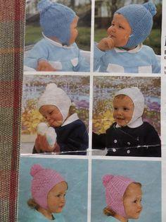 Knitting Pattern Babies Children Girls Boys Hats 6 Designs DK 6/18 mths Vintage by CraftybyLulu on Etsy