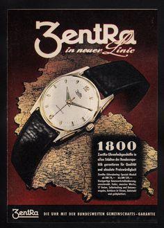 3W506 Alte Reklame Von 1958 Zentra Uhren in Neuer Linie | eBay