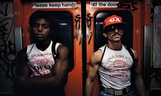 Heaven forbids … a shot from Subway showing two members of the Guardian Angels, a group set up to combat crime on the New York underground. Photo: Bruce Davidson via The Guardian