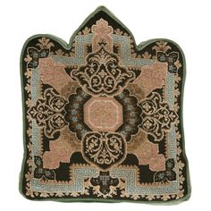 Antique Victorian beaded fireplace panel with Greek Key border (circa 1880) crafted into a pillow.