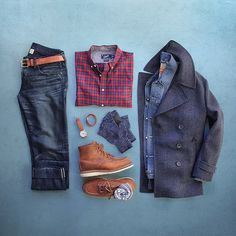Outfit grid - Pea coat, check shirt, jeans and tan boots