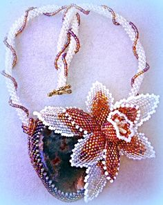 FREE SHIPPING - Exclusive handmade beaded orchid flower necklace with huge moss agate cabochon