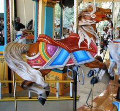 Woodland Park Zoo Carousel, Seattle, WA.  Inside Row jumping horse