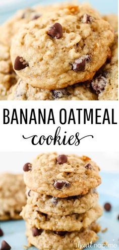 Banana Oatmeal Cookies - Super soft chewy and absolutely delicious. The perfect way to use up those overripe bananas! Banana Oatmeal Cookies - Super soft chewy and absolutely delicious. The perfect way to use up those overripe bananas! Banana Oatmeal Chocolate Chip Cookies, Recipe For Oatmeal Cookies, Chocolate Cookies, Instant Oatmeal Cookies, Banana Cookie Recipe, Oatmeal Cupcakes, Breakfast Cupcakes, Healthy Cookies, Delicious Cookies