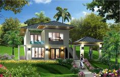 Houseland thiết kế biệt thự cổ điển, hiện đại đẹp: Thiết kế biệt thự nhà vườn 1 tầng