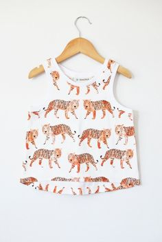 Organic baby high low tank in watercolor tigers by LolaandStella