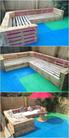 The cushions on the couches are also beautified the seating area. Just have a look below this pallets patio couches seating area and build one for your garden. diy garden furniture Patio Garden Corner Seating with Pallets Backyard Seating, Backyard Patio, Pallet Seating, Wood Patio, Seating Area In Garden, Outside Seating Area, Backyard Landscaping, Pallet Garden Furniture, Furniture Projects