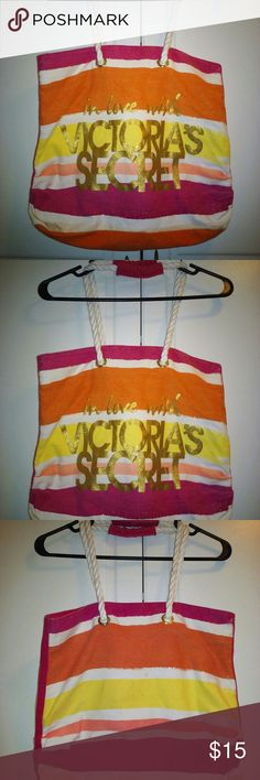 """🌞🌞Victoria's Secret Canvas Beach Bag🌞🌞 This Victoria's Secret Canvas Beach/Tote Bag Was Very Well Loved But Still Has A Lot Of Life Still. Sturdy Canvas, Very Soft Rope Handle/Straps With A 10"""" Loop. 16"""" Laying Flat With A 4 1/2 """" Wide Bottom. ~** Note Last 2 Pics Show Stains. ~ PRICED LOW~ ** All Stains Should Come Out With Another Wash! 🌞Needs New Home🌞 Offers Accepted🌞🌞🌞 Victorias Secret Bags Totes"""