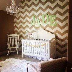 A DIY stenciled nursery accent wall using the Chevron Allover Stencil. http://www.cuttingedgestencils.com/chevron-stencil-pattern.html?utm_source=JCG&utm_medium=Pinterest%20Comment&utm_campaign=Chevron%20Allover