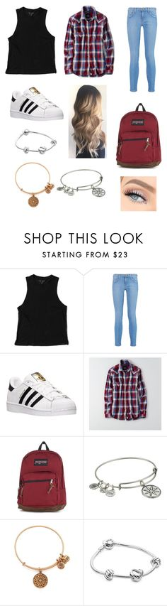 """""""Untitled #163"""" by sadiecoda on Polyvore featuring Richer Poorer, Current/Elliott, adidas, American Eagle Outfitters, JanSport, Alex and Ani and Pandora"""