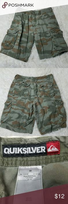 QUICKSILVER Camo Cargo Shorts. Size 32. EUC No trades but I love offers!  If something is priced at $4 I AM FIRM.  I sell every size in my closet so I can't model. But I will gladly answer any questions you have. Save more and bundle! Quiksilver Shorts Cargo