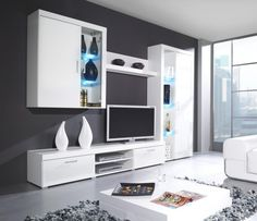 Buy home modern furniture online. We specialize in Modern Contemporary Furniture for your home. 3 Living Rooms, Living Room Wall Units, Living Room Tv Unit Designs, Living Room Entertainment Center, Entertainment Center Furniture, Entertainment Stand, Tv Plasma, Modern Wall Units, Muebles Living